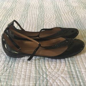 Sigerson Morrison patent braided t-strap flats